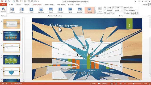 Office 2019 đã bổ sung thêm hiệu ứng chuyển cảnh trong Powerpoint