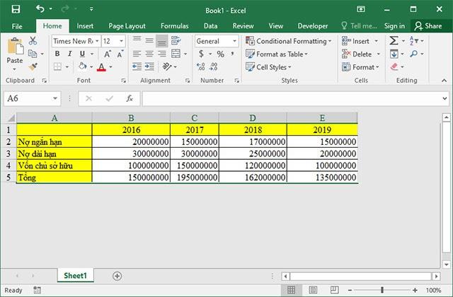 Giao diện bảng tính trong Excel 2003