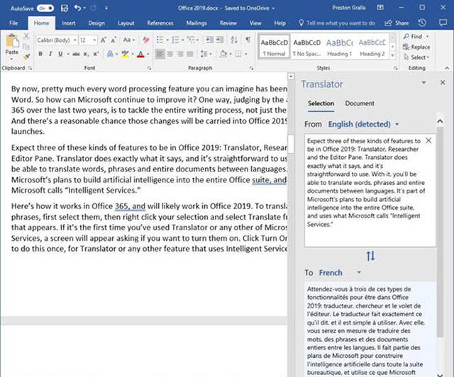 Office 2019 hỗ trợ dịch văn bản ở trên cả 3 ứng dụng word, excel và powerpoint