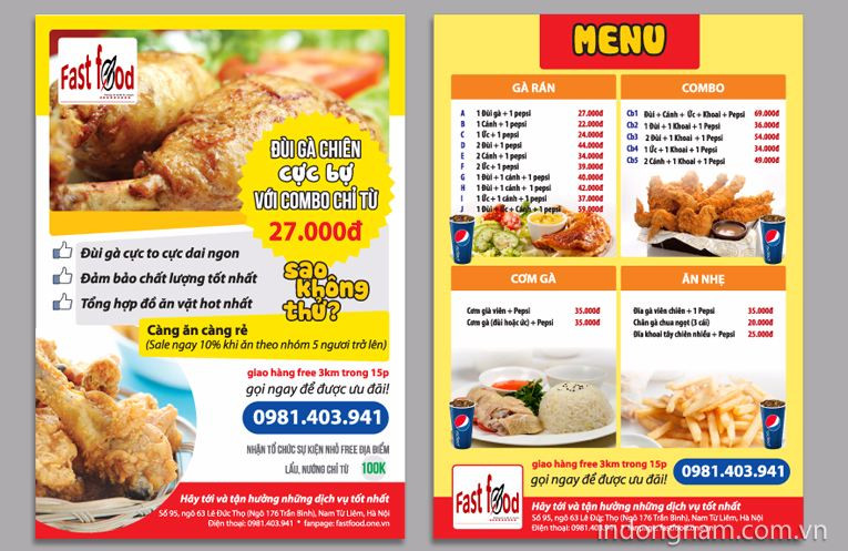 Tờ rơi quảng cáo về nhà hàng, quán ăn