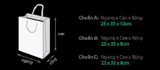 Kích thước túi giấy thường được sử dụng