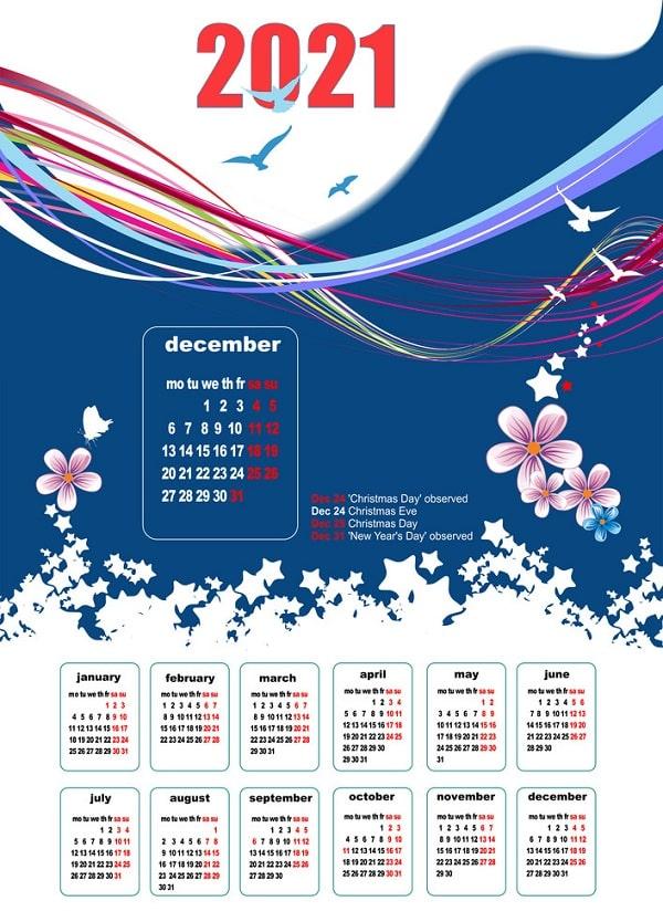 Kích thước lịch Tết thông dụng nhất