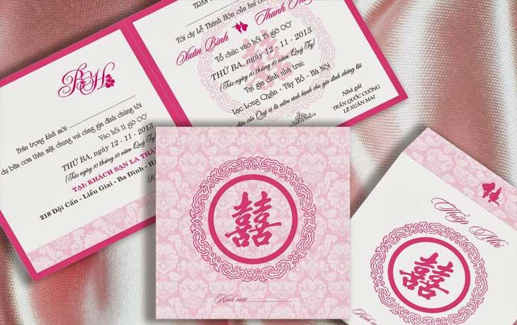 Thiệp cưới bằng giấy mỹ thuật không gân