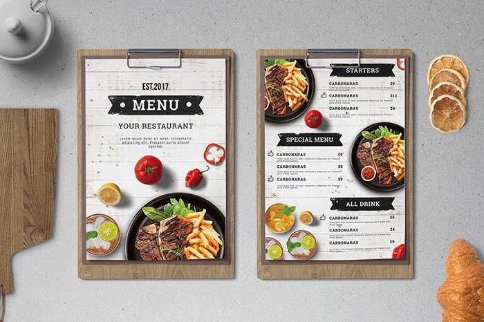 thiet ke menu bang word don gian