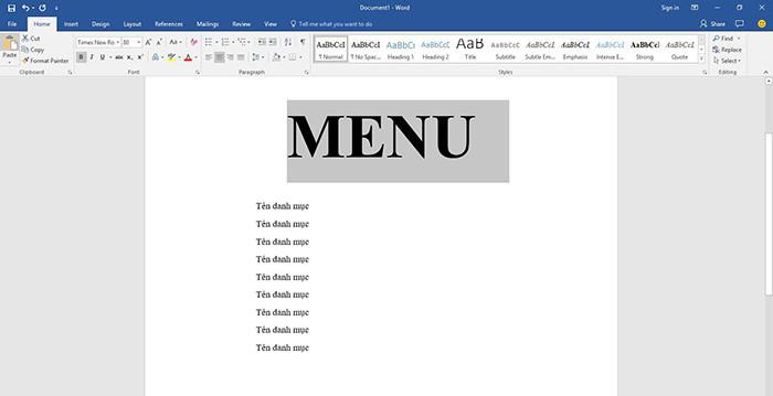 cach lam menu trong word
